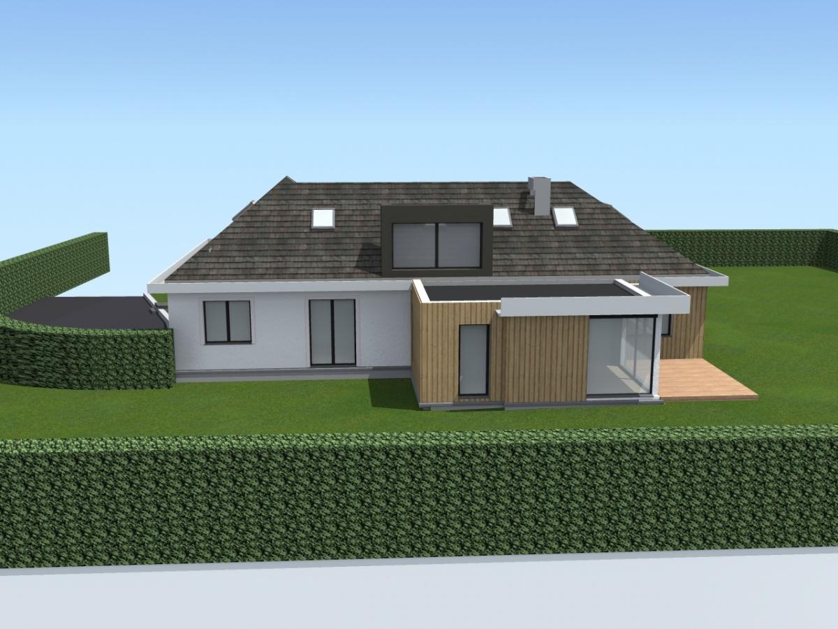 Double extension bois d'une maison à Hem : projet