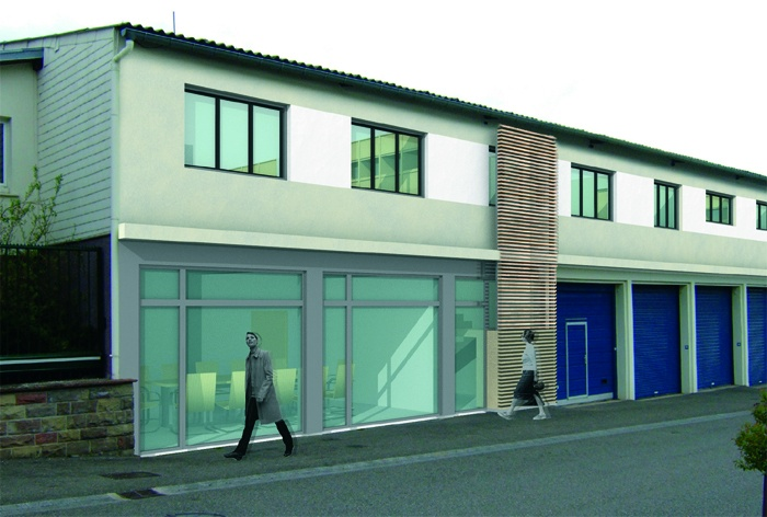 Rénovation d'un Centre technique et d'un Centre médico-social : Façade sur rue