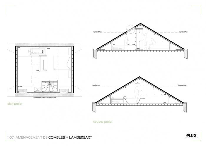 Combles aménagés à LAMBERSART (59130) : architecte lille plux aménagement intérieur loft studio appartement loft maison design décoration