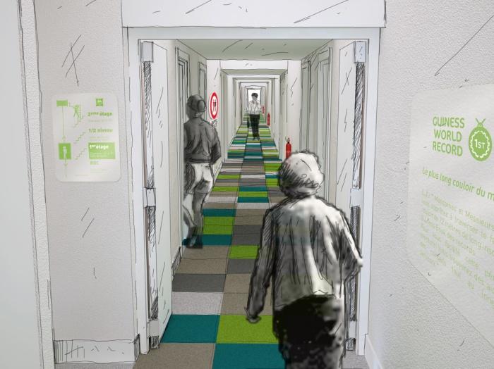 Réhabilitation d'un Novotel en Ibis Styles : Couloir