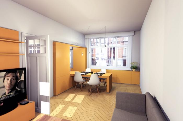 MUR TIROIR, restructuration et aménagement intérieur d'une maison individuelle à Marcq en Baroeul : vue 2.jpg