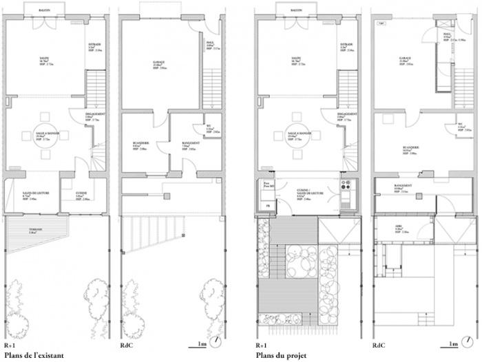 FENÊTRE SUR JARDIN, Réhabilitation et extension d'une maison de ville, aménagement d'une terrasse et des espaces extérieurs à Marcq en Baroeul : DIENTRE_fenetre_sur_jardin_plans1